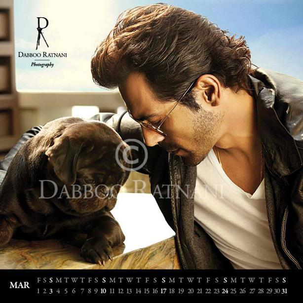 Arjun With A Dog Trendy Look Photo Shoot For Mar 2013 Dabboo Ratnani Calender