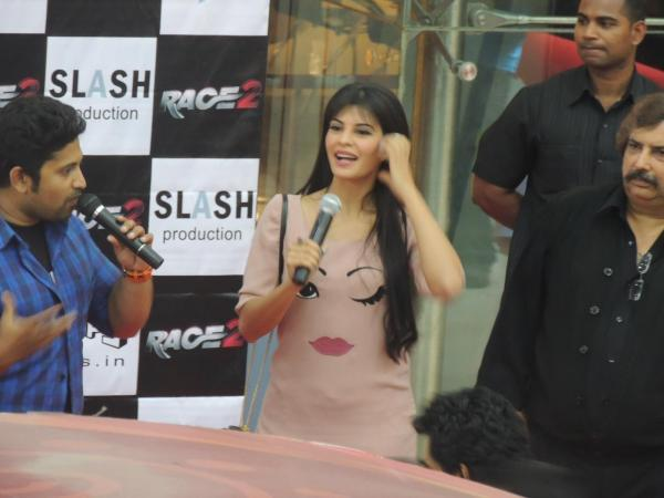 Jacqueline Looked Sizzling In A Pink T-Shirt At Reliance Digital In Pune To Promote Race 2