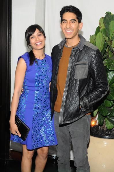 Freida Pinto And Dev Patel Cute Smiling Pose For Camera At Golden Globes Pre Party