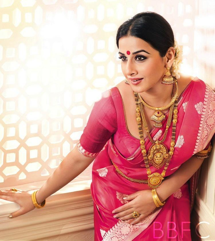 Traditional  Look Vidya In A Pink Saree With Gold Ornaments For Ranka Jewellers