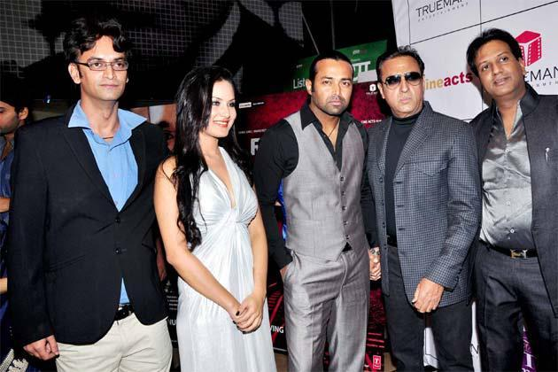 Puja,Leander And Gulshan Pose For Camera At The Premiere Of The Film Rajdhani Express