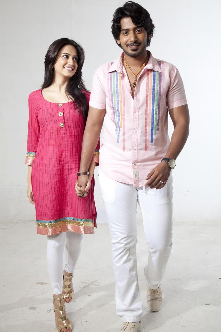 Prajwal And Kriti Nice Look With Cute Smiling Photo From Kannada Movie Galate
