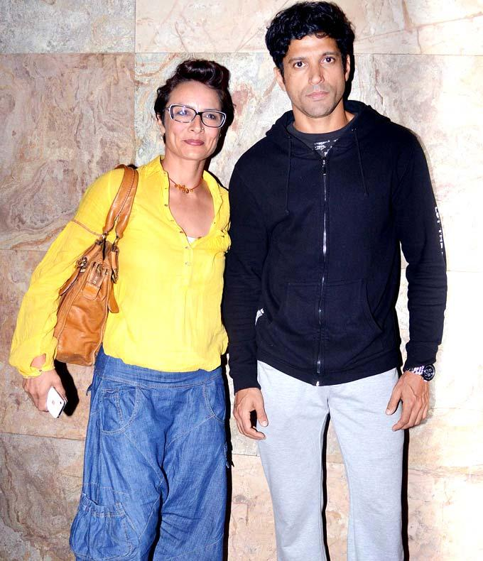 Farhan Akhtar With Wife Adhuna Posed For Camera At Special Screening Of Inkaar