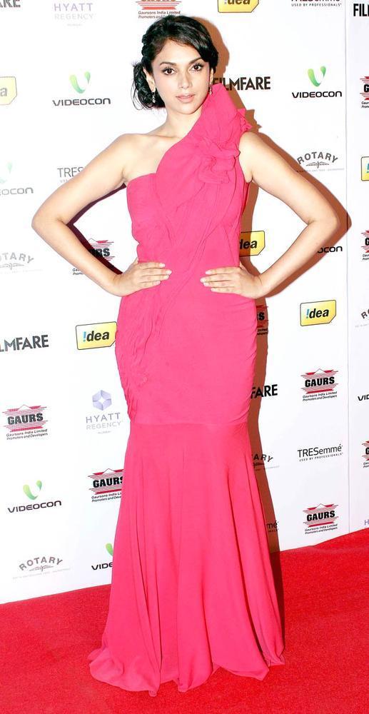 Aditi Rao In A Gaurav Gupta Gown Pose For Camera At The 57th Filmfare Nomination Party