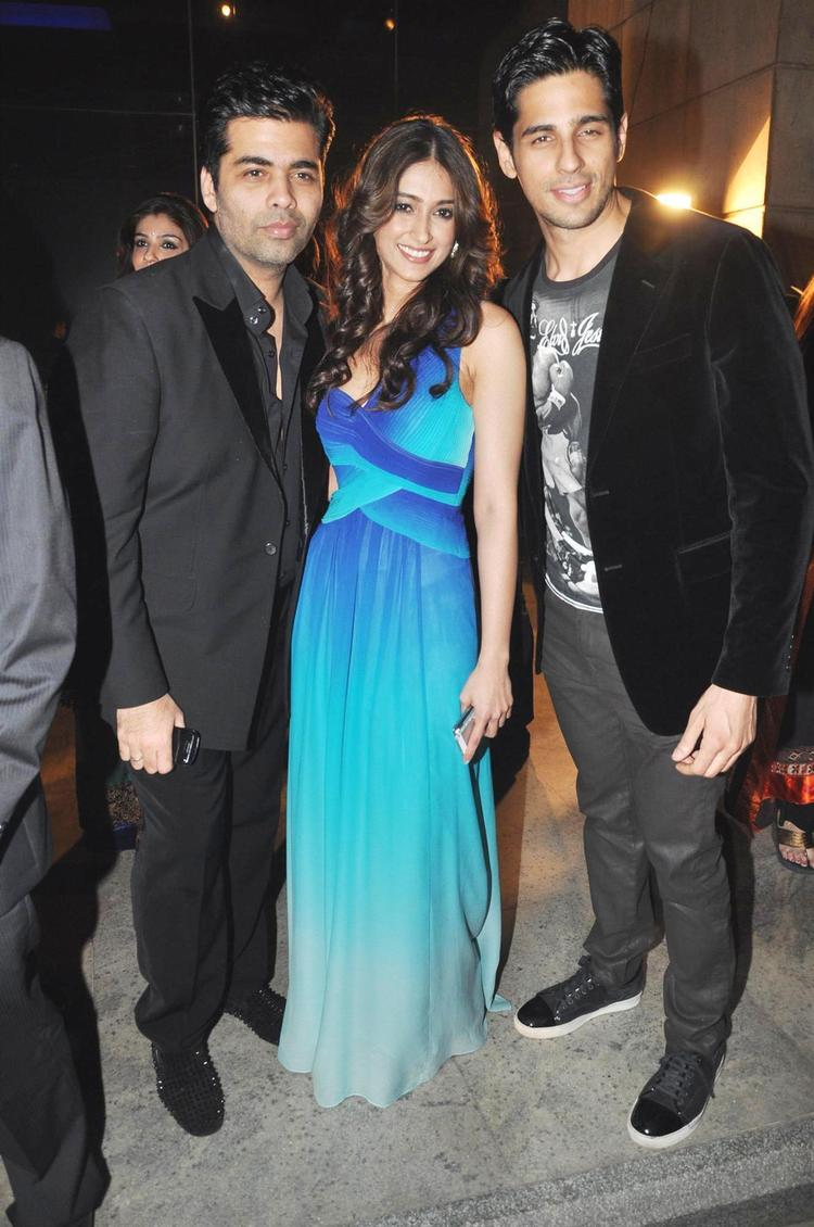 Karan,Ileana And Siddharth Pose For Camera At The 58th Filmfare Nomination Party