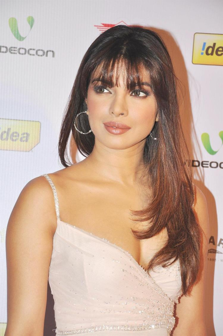 Priyanka Sexy Cleavage Show Photo Clicked In A Dior Dress At The 58th Filmfare Nomination Party