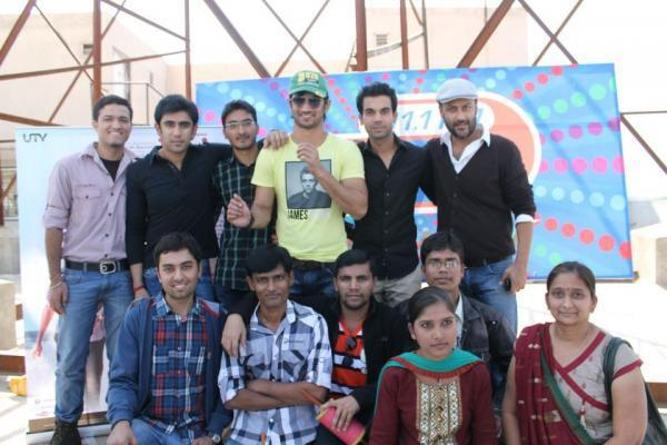 Sushant,Raj Kumar And Amit And Others Posed During The Promotion Of Kai Po Che