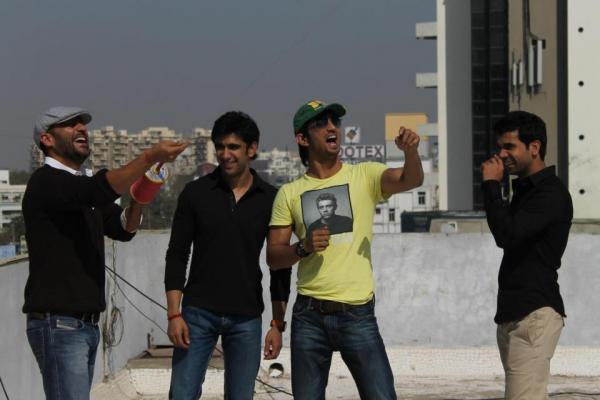 Sushant,Raj Kumar And Amit Enjoy The Kite Flying During The Promotion Of Kai Po Che