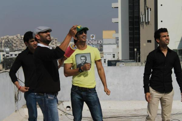 Sushant,Raj Kumar And Amit Played Kite Flying During The Promotion Of Kai Po Che