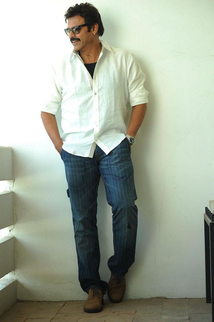 Venkatesh Nice Posed Still At SVSC Press Meet