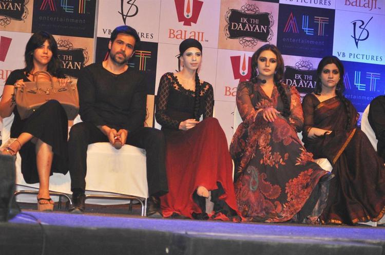 Ekta,Emraan,Kalki,Huma And Konkana On Chair Photo Clicked At Launch Of Ek Thi Daayan