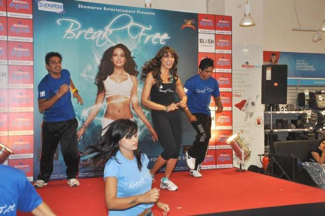 Bipasha Basu Performs At The Launch Of Fitness DVD Break Free