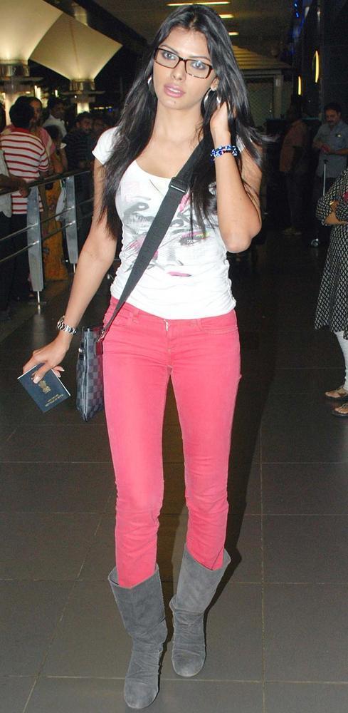 Sherlyn Chopra Stylish Look Photo In White And Pink Dress