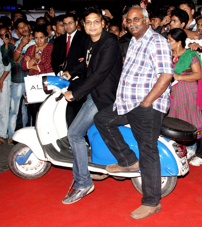 Celebs Pose For Camera On A Scooter At Music Launch Of Special Chabbis