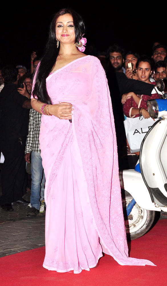 Divya Dutta Posed For Camera In A Pink Saree At Music Launch Of Special Chabbis