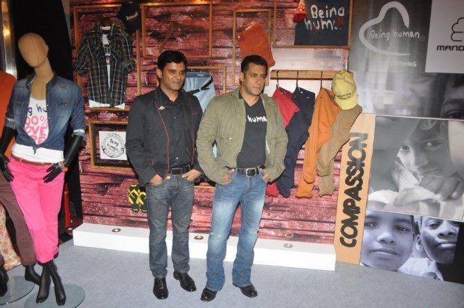 Salman With A Guest Pose For Camera At Being Human Store Launch