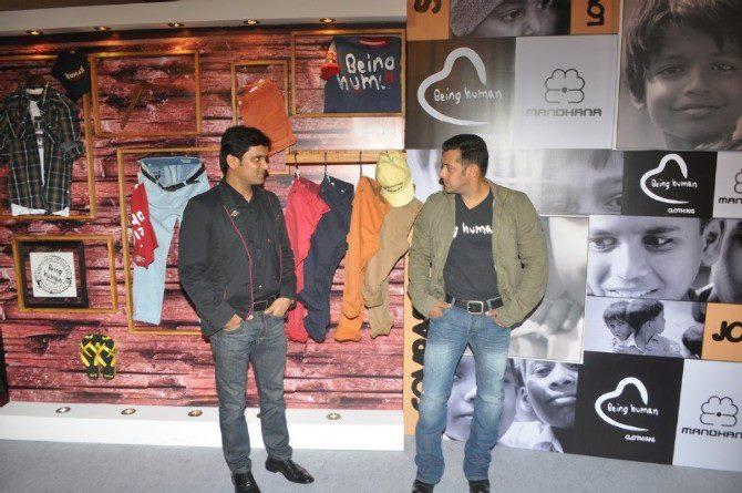 Salman Khan Chatting Photo Clicked At Being Human Store Launch