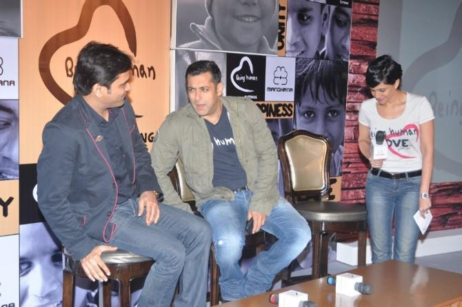 Salman Khan With A Guest Present At Being Human Store Launch