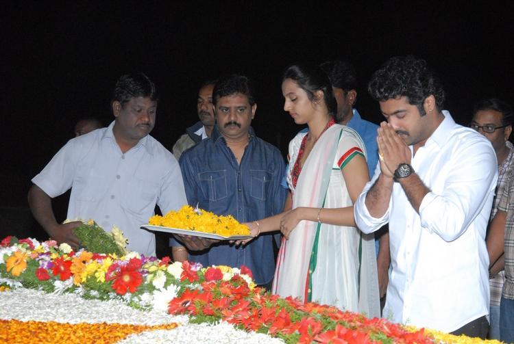 Jr. NTR And Wife Lakshmi Pranathi Greeted At NTR Ghat