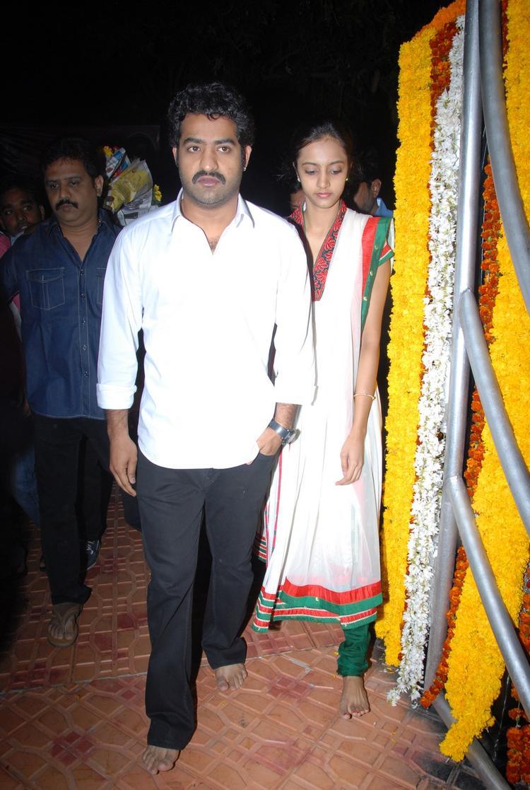 Jr. NTR And Wife Lakshmi Pranathi At NTR Ghat