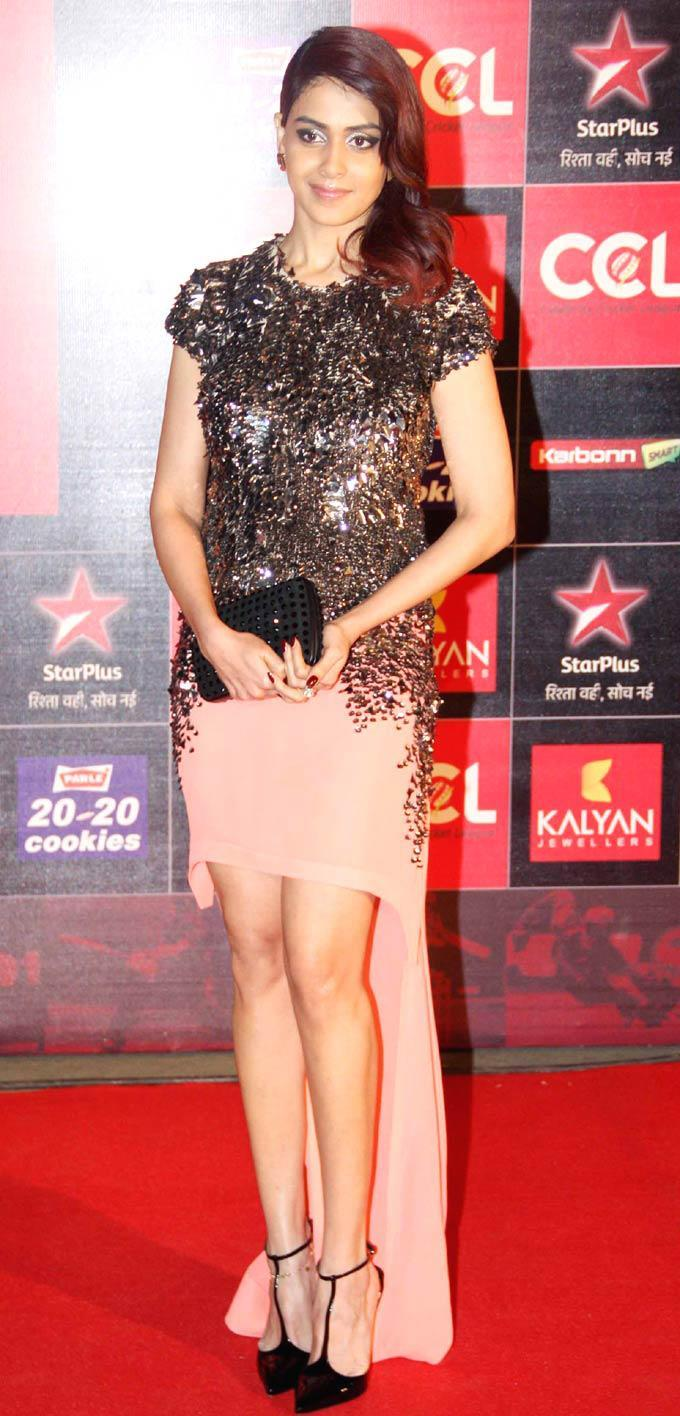 Genelia D'Souza Strikes A Pose At The CCL Season 3 Red Carpet