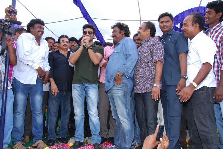 Ram Speaking Still V. V. Vinayak And D.V.V. Danayya Looks On At Nayak Movie Success Tour