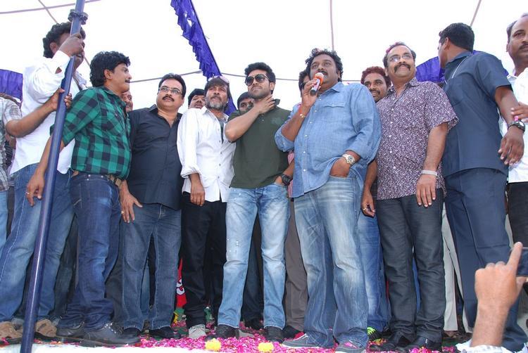 Ram,V. V. Vinayak,D.V.V. Danayya And Chota K. Naidu Posed At Nayak Movie Success Tour