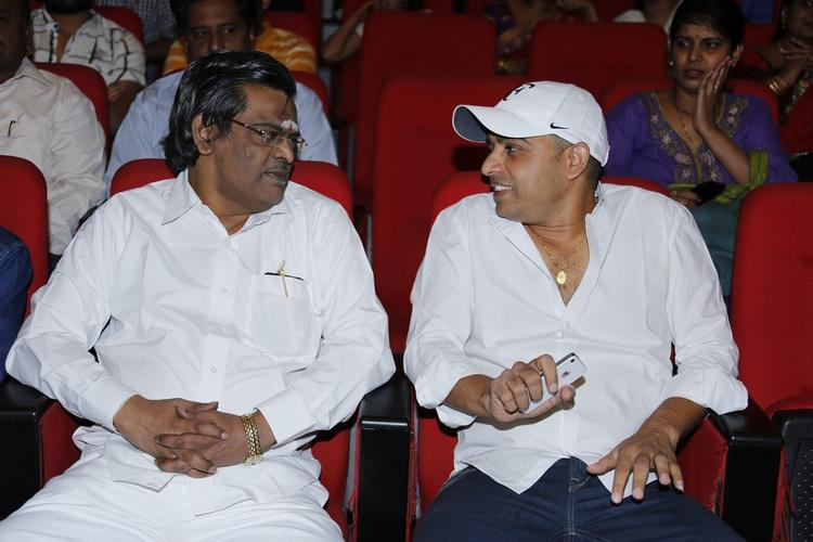 Dil Raju And Sirivennela Chatting Still At SVSC Triple Platinum Disc Function