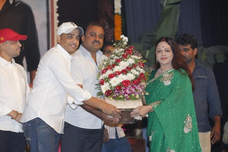 Vijaya Nirmala And Dil Raju At SVSC Triple Platinum Disc Function