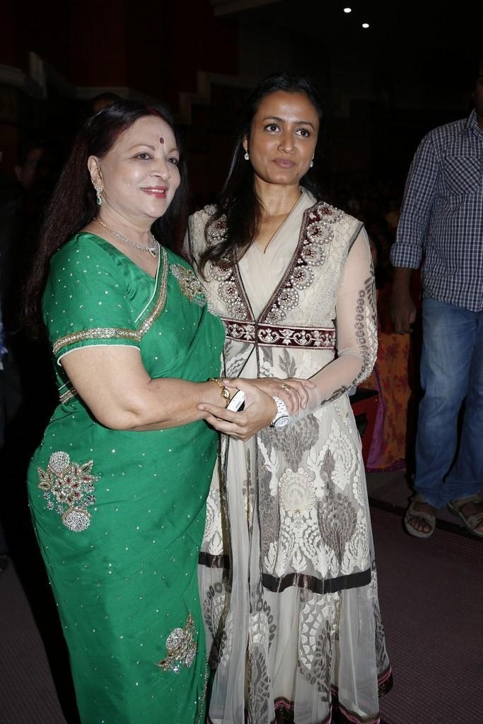 Vijaya Nirmala And Namrata Posed For Camera At SVSC Triple Platinum Disc Function