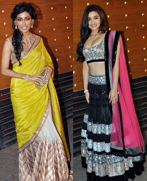 Chitrangada And Alia Posed For Camera At Filmfare Awards 2013
