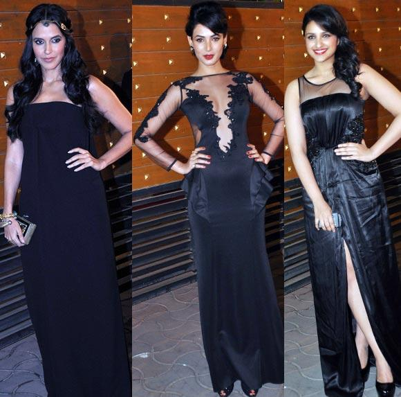 Parineeti,Sonali And Neha Looked Ravishing In Black Ensemble At Filmfare Awards 2013
