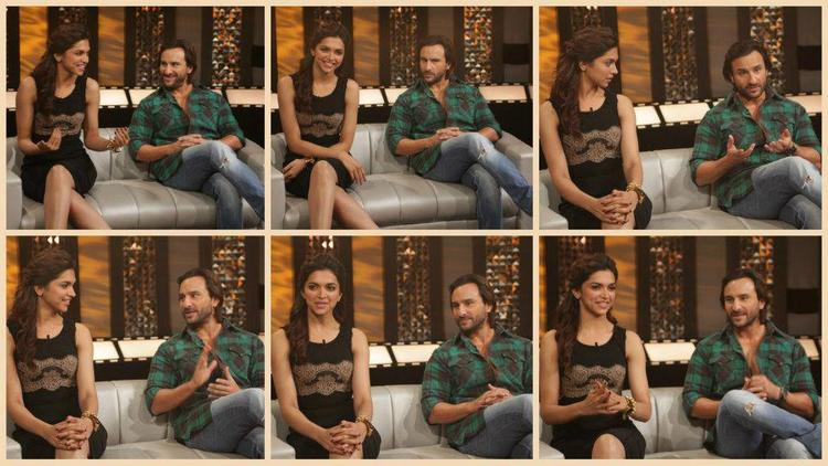 Saif Ali Khan And Deepika Padukone Different Pose Still On The Front Row Event