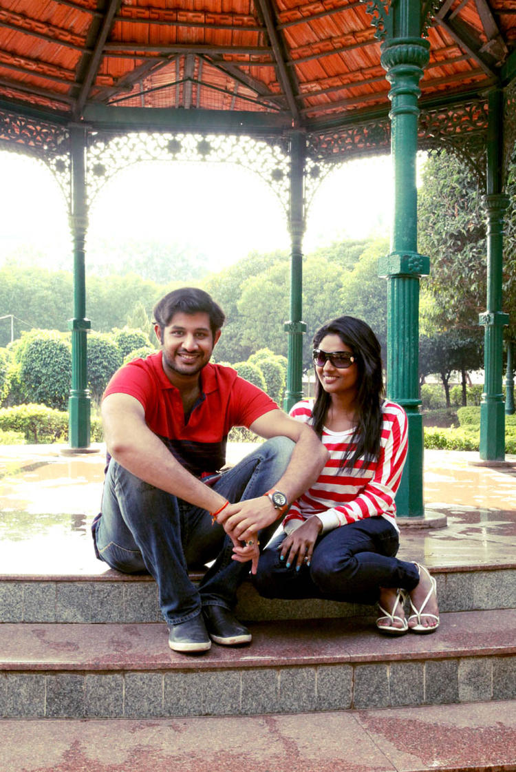 Sreeram And Amitha Sitting On The Steps Photo From Movie Chemistry