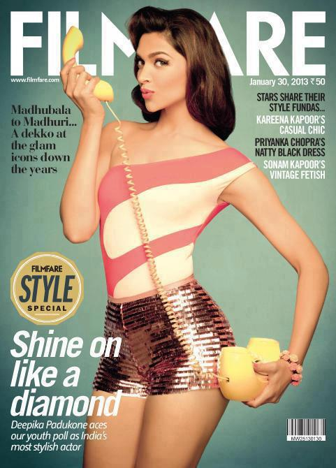 Deepika Padukone On The Cover Of Filmfare's January 2013 Issue