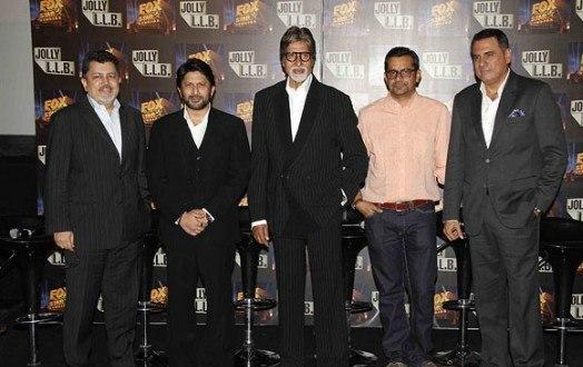 Amitabh,Arshad,Boman And Subhash Posed At The Trailor Launch Of Bollywood Film Jolly LLB