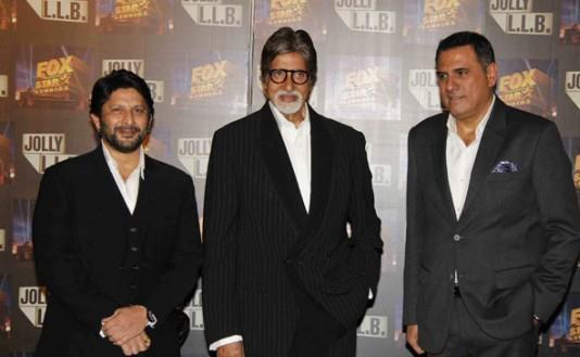 Big B,Arshad And Boman Posed For Camera At The Trailor Launch Of Bollywood Film Jolly LLB