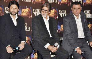 Big B,Arshad And Boman Posed During The Trailor Launch Of Bollywood Film Jolly LLB