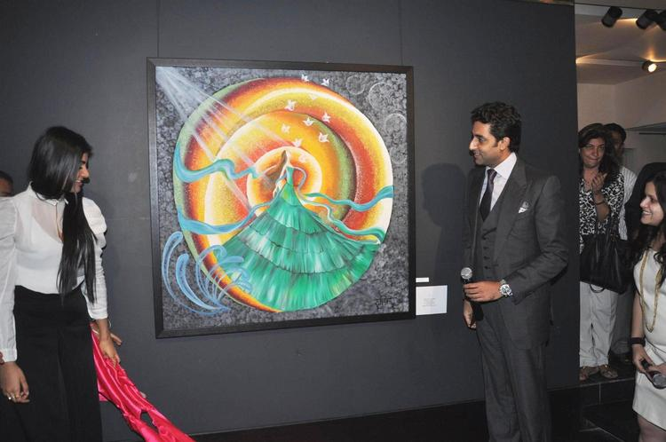 Abhishek And Radhika Gives A Look To The Painting At Art Exhibition Of Radhika Goenka