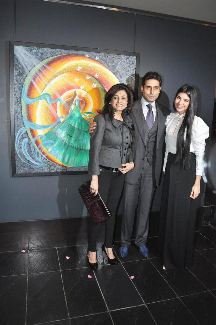 Abhishek,Chaya And Radhika Flash A Smile At The Launch Of Radhika Goenka Art Exhibition Of Radhika Goenka