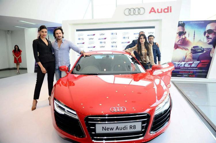 Saif,Deepika And Ameesha During The Supercar Audi R8 Launch Event