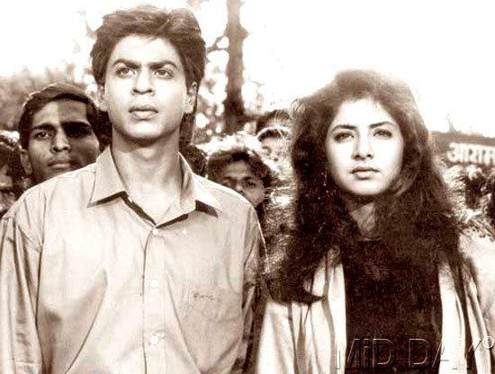 SRK With Divya Bharti On The Sets Of Deewana