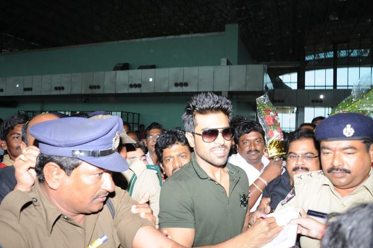 Ram Charan Teja Smiling Look Still At Nayak Movie Success Tour