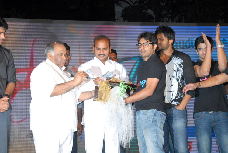 B.V.S.N. Prasad And Manoj On Stage At Swamy Ra Ra Audio Release Function