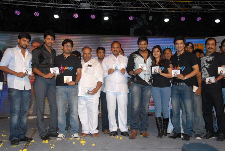 Swati,Allari Naresh,Manchu Manoj,B.V.S.N. Prasad,Nani And Nikhil Posed At Swamy Ra Ra Audio Release Function