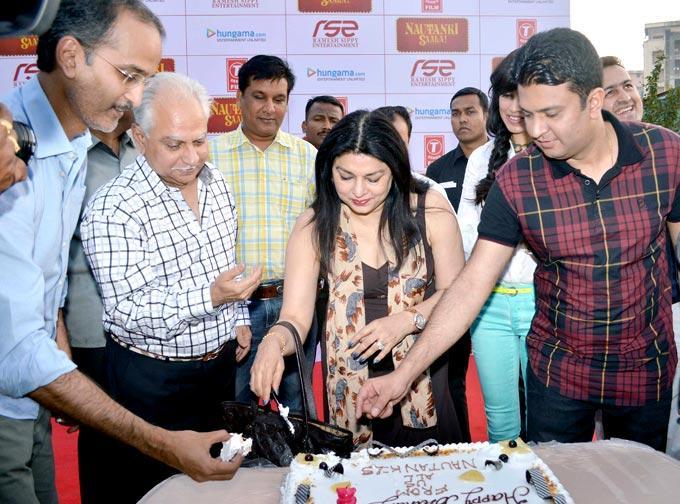 Kiran Cuts The Cake As Rohan,Ramesh And Bhusan Stand Near By At First Look Launch Of Nautanki Saala