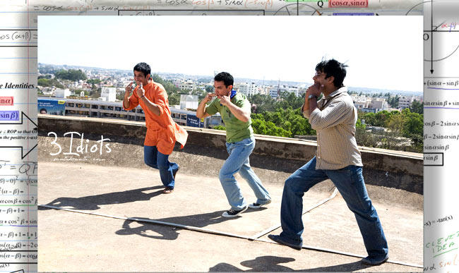 Aamir,R. Madhavan And Sharman Marvelous Acting Photo From Movie 3 Idiots