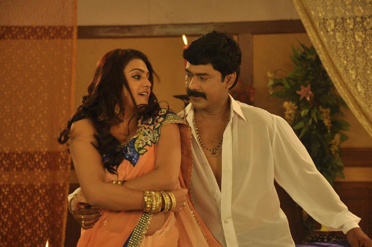 Tashu With A New Hero Romance Still From Movie Mahha Raja Sri Gaaligadu