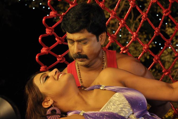 Tashu With A New Hero Spicy Still From Movie Mahha Raja Sri Gaaligadu