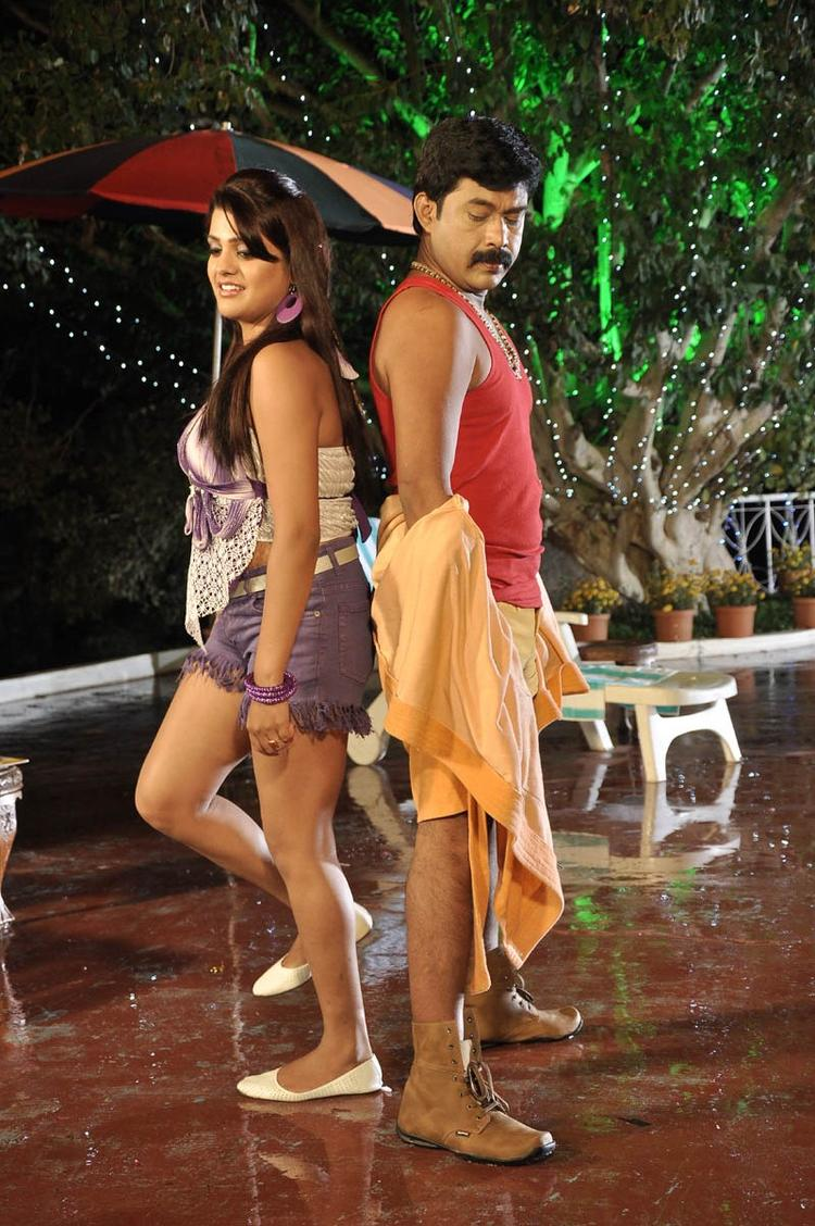 Tashu Sexy Photo In Bath Costume With The Hero In Movie Mahha Raja Sri Gaaligadu